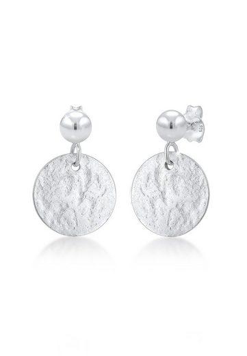 Elli Paar Ohrhänger »Ohrhänger Plättchen Gehämmert Matt 925er Silber«