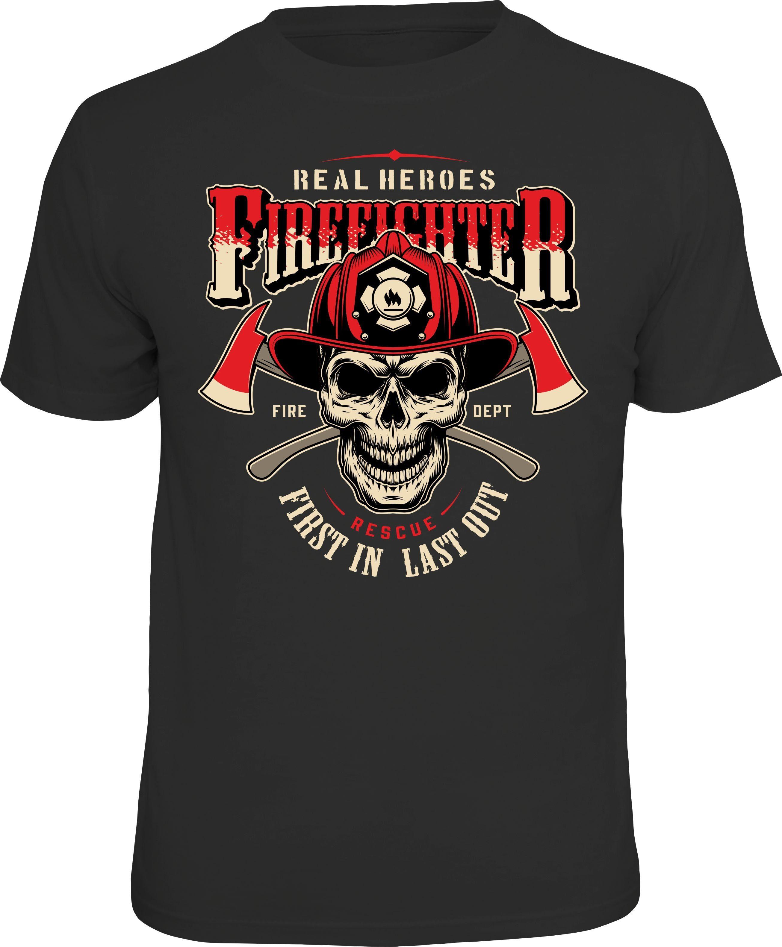 Herren Rahmenlos T-Shirt mit tollem Feuerwehr-Frontdruck schwarz | 04052743922473