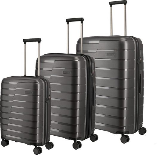 travelite Trolleyset »Air Base, anthrazit«, 4 Rollen, (3 tlg), mit Volumenerweiterung
