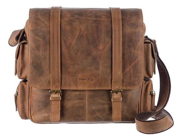 GreenLand Nature Messenger Bag, aus echtem Leder mit praktischer Einteilung | Taschen > Business Taschen | Braun | Ab | GreenLand Nature