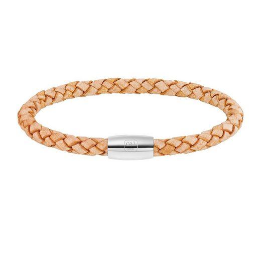 CAÏ Armband »Edelstahl Leder natur 23cm«