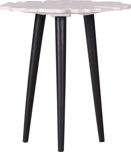 Leonique Beistelltisch »Menton«, mit Marmor Platte in Blattform und schlichten schwarzen Holzbeinen