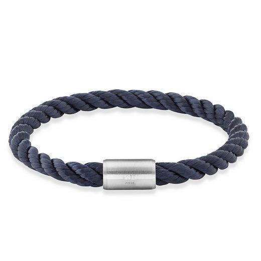 CAÏ Armband »Edelstahl Textilband Navy blau 23cm«