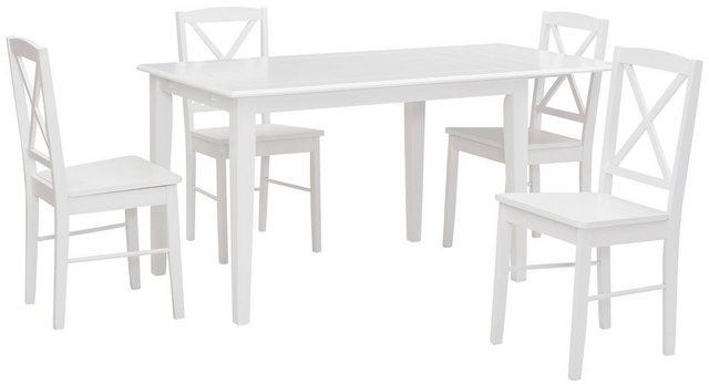 Essgruppen - Home affaire Essgruppe »Olvera«, (Set, 5 tlg), bestehend aus Fullerton Esstisch 120 cm, 4 Sonoma Esszimmerstühlen und 1 Ansteckplatte (5 tlg)  - Onlineshop OTTO