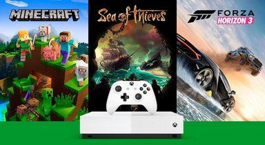 Xbox One S 1TB (Bundle, inkl. Sea of Thieves, Forza Horizon 3, Minecraft), ohne Laufwerk - All Digital Edition