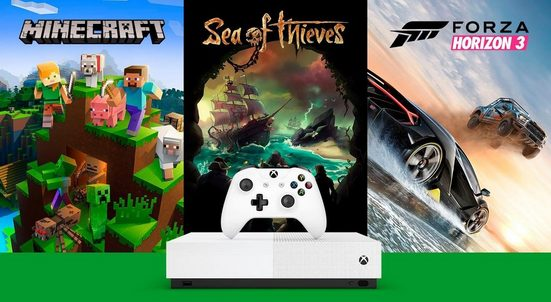 Xbox One S 1TB (Bundle, inkl. Sea of Thieves, Forza Horizon 3, Minecraft), ohne Laufwerk - All Digital Edition