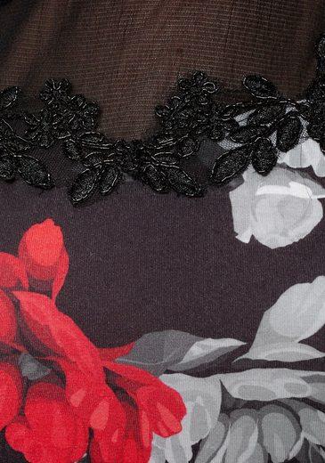 Melrose Rundhalsshirt mit Netz und Spitze