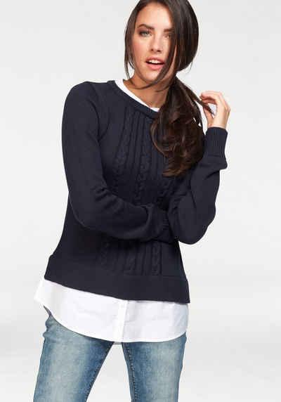 Aniston CASUAL 2-in-1-Pullover mit Bluseneinsatz