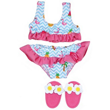 Heless Flamingo-Bikini mit Badeschläppchen, Gr. 28-35 cm, Puppenkle