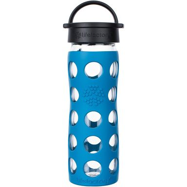 Lifefactory Glas-Trinkflasche, Classic Cap, teal lake, 475ml