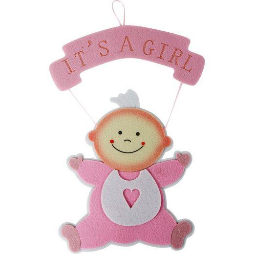 Wandhänger Baby, pink