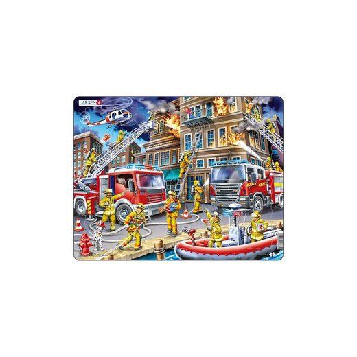 Larsen Rahmen-Puzzle, 45 Teile, 36x28 cm, Feuerwehrmänner