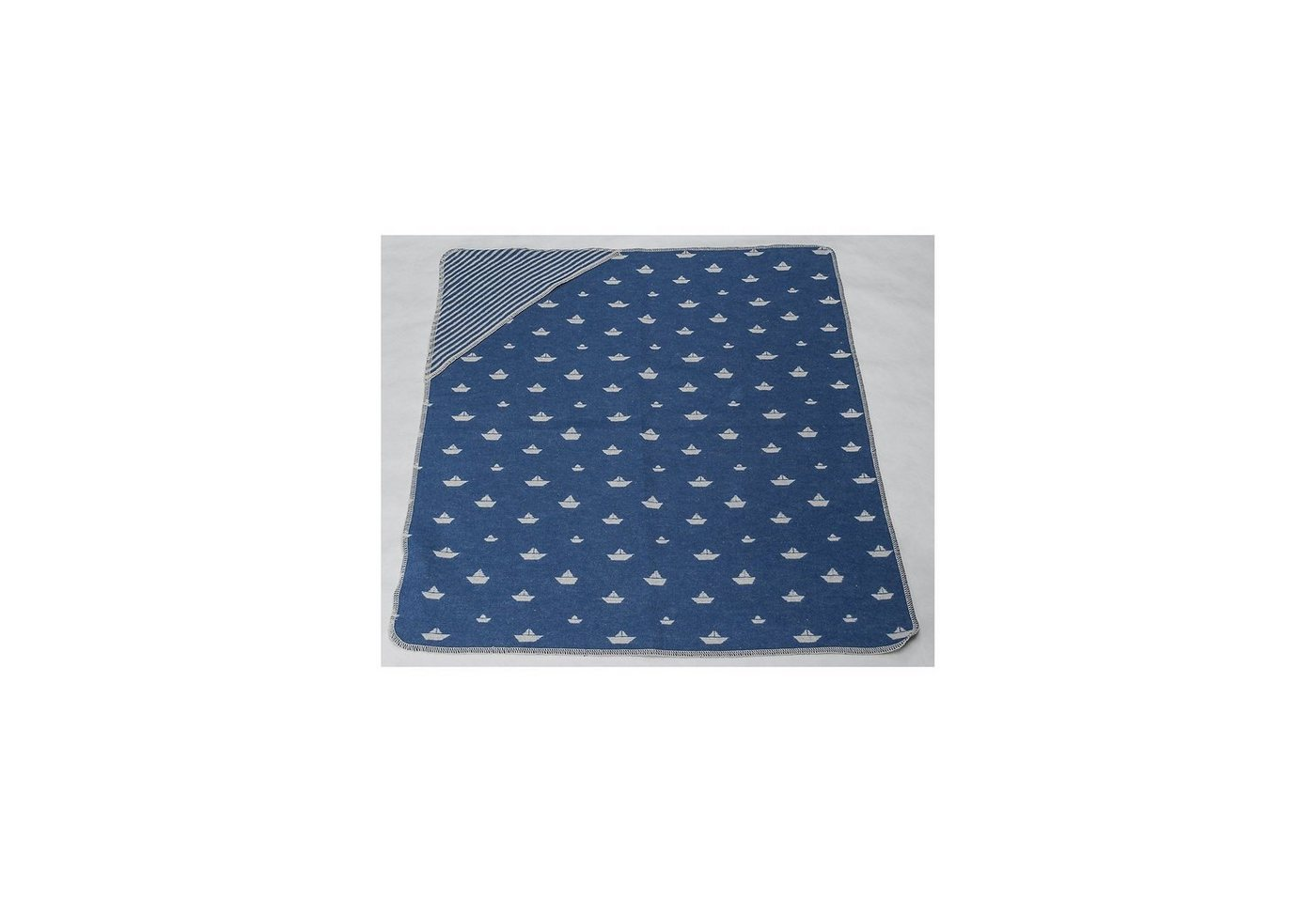 DAVID FUSSENEGGER Kinderdecke mit Kapuze ´´Boote allover´´, samtblau, 80 x 80 cm | Kinderzimmer > Textilien für Kinder > Kinderbettwäsche | Blau | DAVID FUSSENEGGER