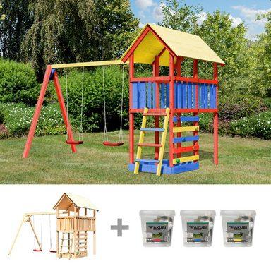 Spielturm »Zirkusturm Danny«, BxTxH: 377x264x291 cm, mit Doppelschaukel, inkl. Farbe