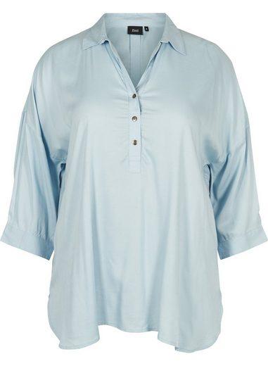 Zizzi Hemdbluse Hemd Damen Große Größen 3/4 Arm Casual Kragen Elegant Bluse
