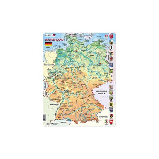 Larsen Rahmen-Puzzle, 50 Teile, 36x28 cm, Karte Deutschland (physis