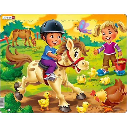 Larsen Rahmen-Puzzle, 16 Teile, 36x28 cm, Bauernhof-Kind mit Pony