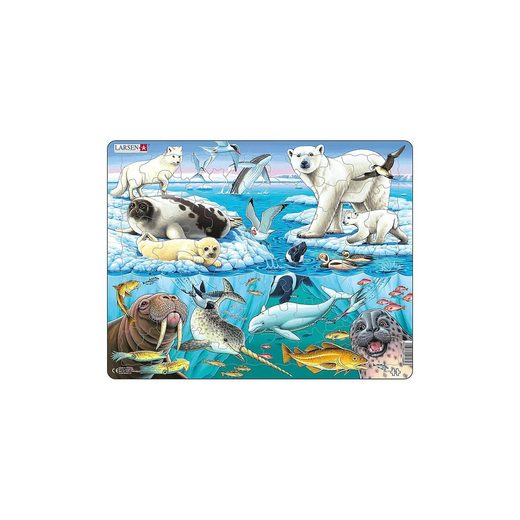 Larsen Rahmen-Puzzle, 75 Teile, 36x28 cm, Tiere der Arktis
