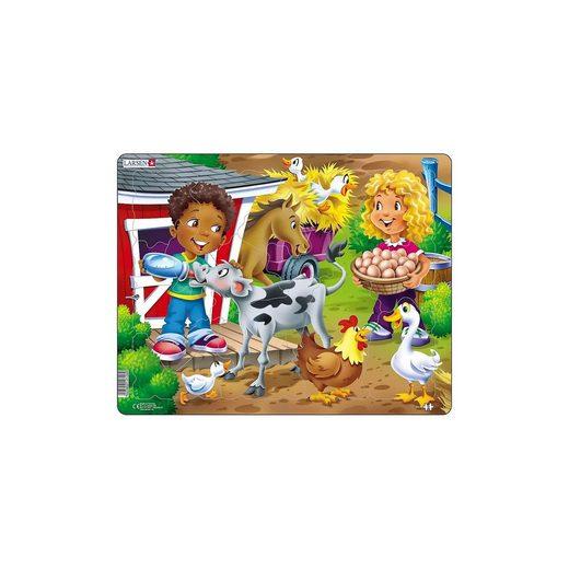 Larsen Rahmen-Puzzle, 18 Teile, 36x28 cm, Bauernhof-Kinder mit Kalb