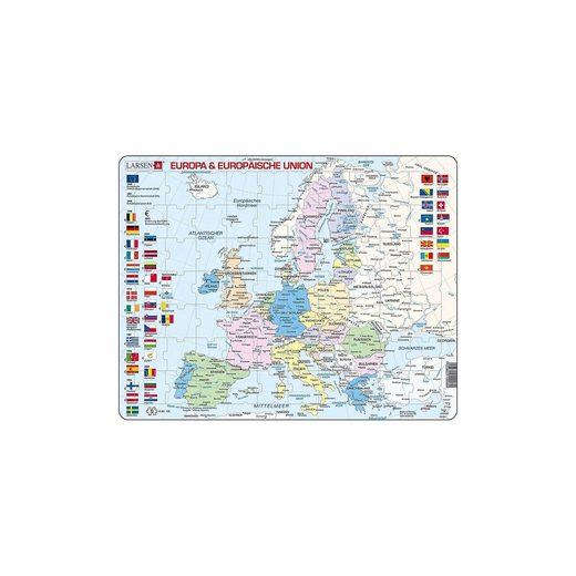 Larsen Rahmen-Puzzle, 70 Teile, 36x28 xm, Karte Europäische Union