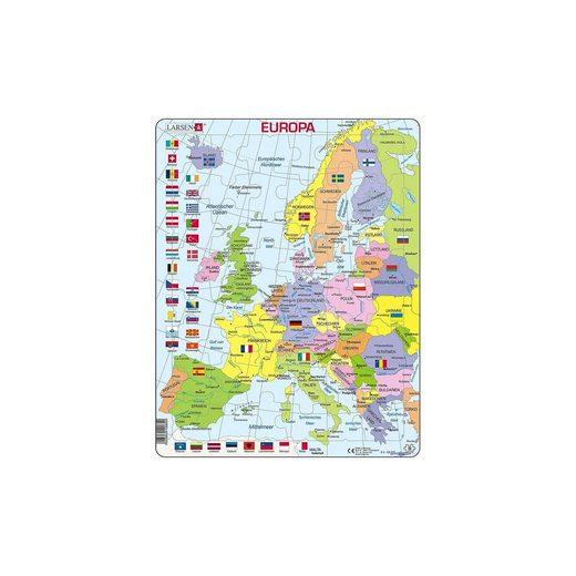 Larsen Rahmen-Puzzle, 48 Teile, 36x28 cm, Karte Europa (politisch)