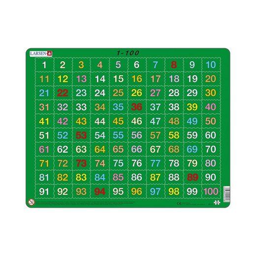 Larsen Rahmen-Puzzle, 100 Teile, 36x28 cm, Zahlen 1-100