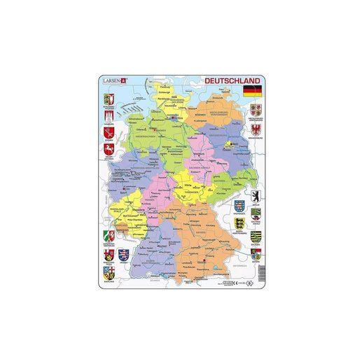 Larsen Rahmen-Puzzle, 48 Teile, 36x28 cm, Karte Deutschland (politi