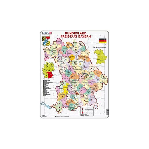 Larsen Rahmen-Puzzle, 70 Teile, 36x28 cm, Karte Bundesland Bayern