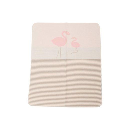 "DAVID FUSSENEGGER Babydecke ""Flamingos/Streifen"", altrosa, 70 x 90 cm"
