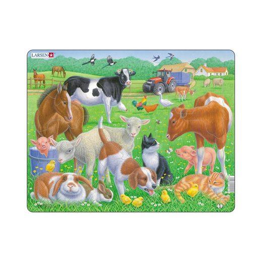 Larsen Rahmen-Puzzle, 15 Teile, 36x28 cm, Haustiere und Nutztiere
