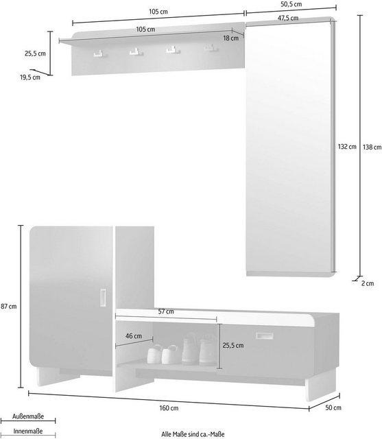 Garderoben Sets - INOSIGN Garderoben Set »Ingrid«, (Set, 3 tlg)  - Onlineshop OTTO