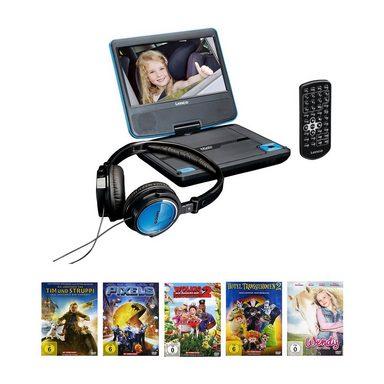 Lenco DVD-Player DVP-710 blau + Filmpaket 5 DVDs