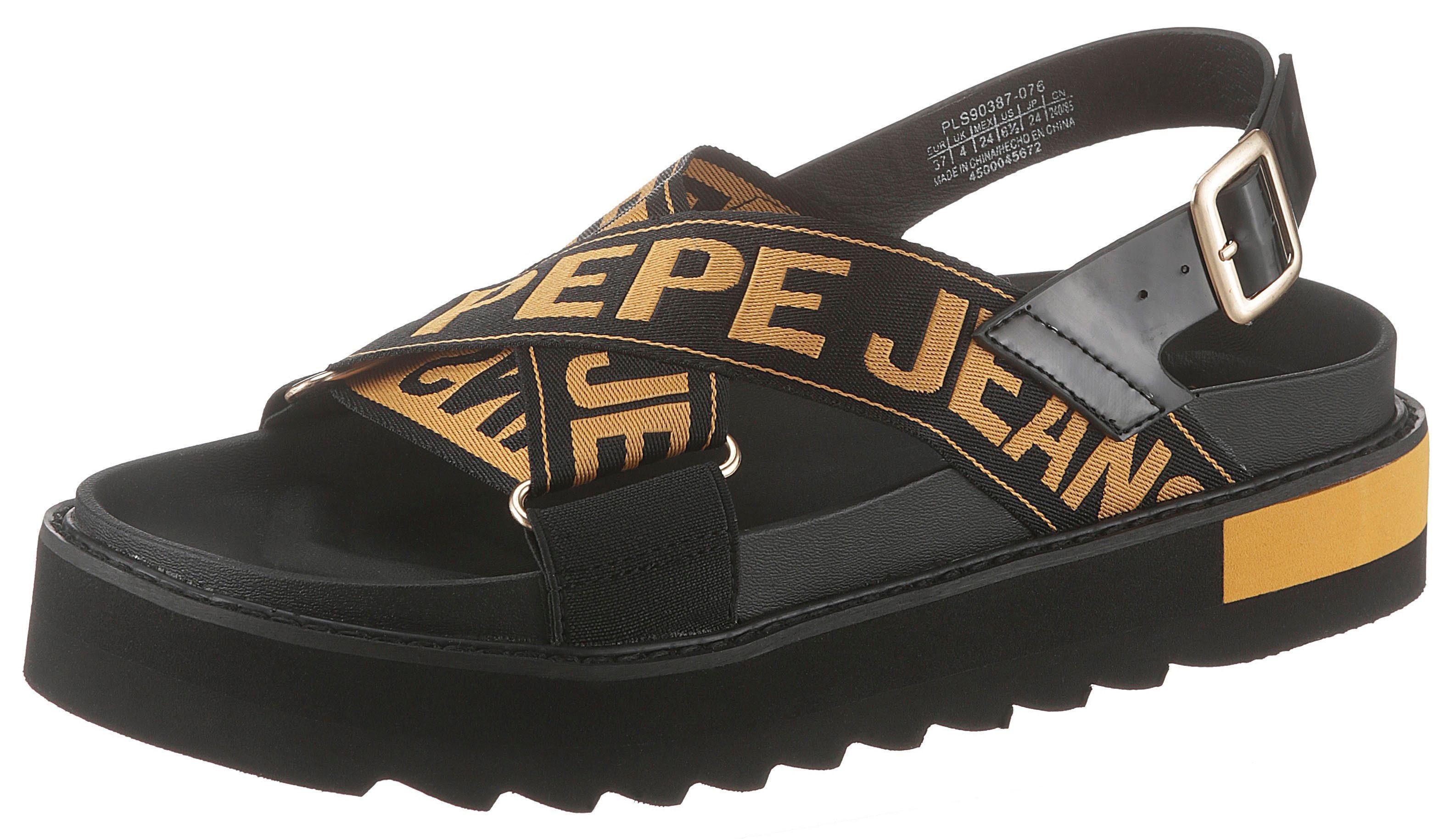 Pepe Jeans Sandalen 'narita Folk' Schwarz Weiß Damen