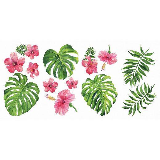 RoomMates Wandsticker Tropical Hibiscus, 13-tlg.