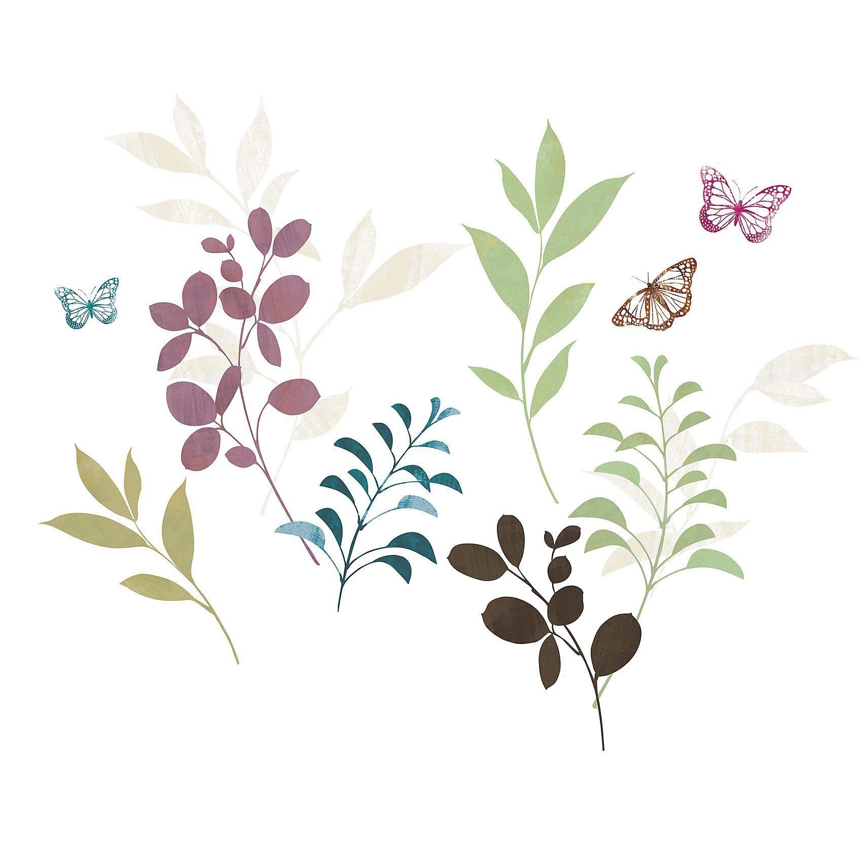 RoomMates Wandsticker Botanical Butterfly, 18-tlg.