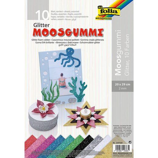 Folia Glitter-Moosgummi 20 x 29 cm, 10 Blatt