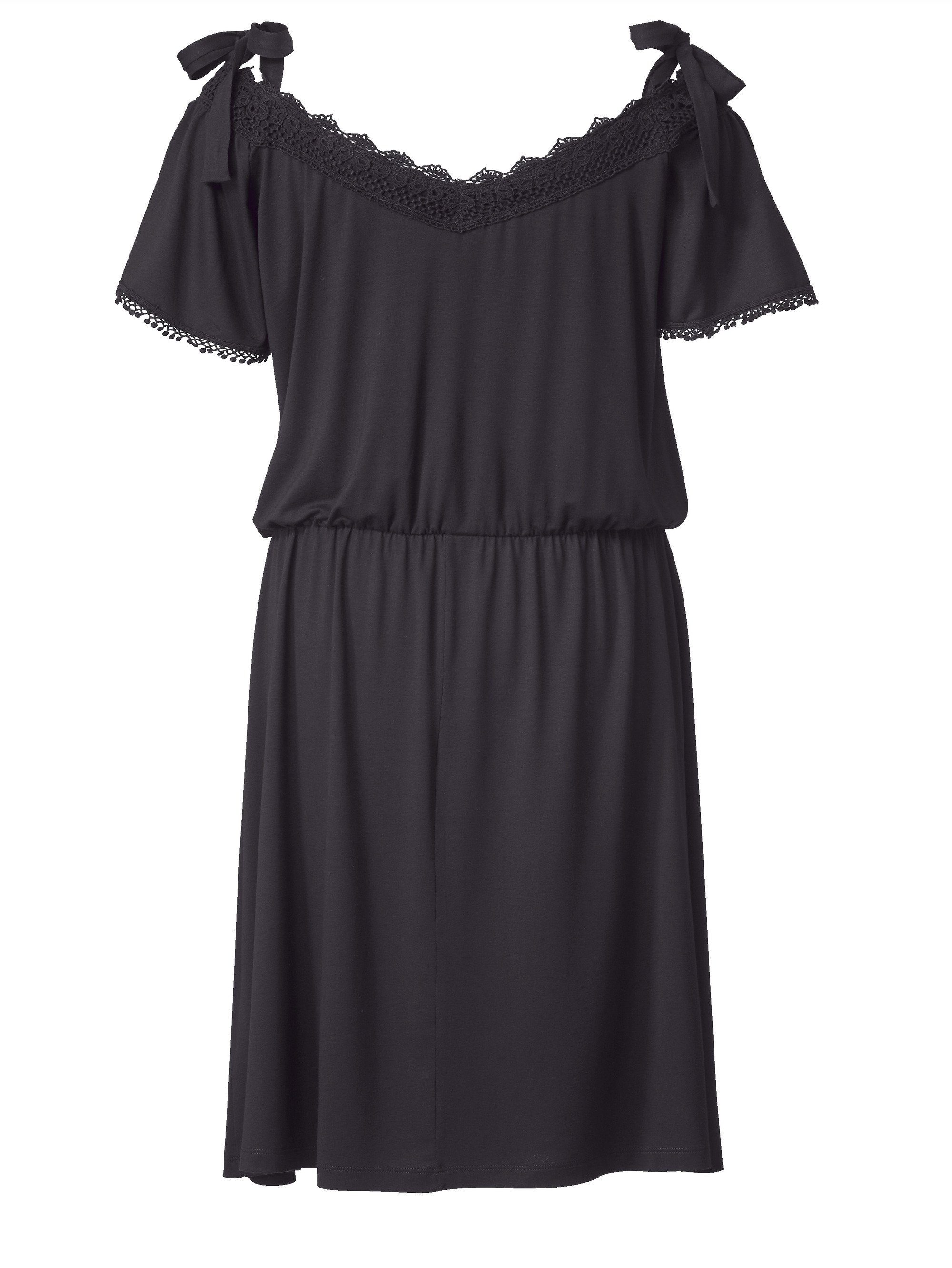 Sara Lindholm by Happy Size Kleid mit Carmen-Ausschnitt und Spitze