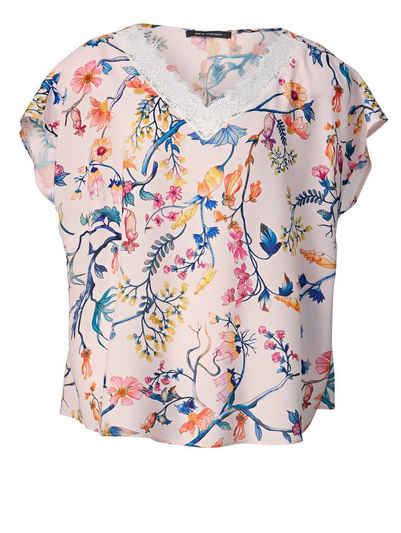 23eaf965d868dd Sara Lindholm by Happy Size Bluse mit Blumen-Print und Spitze