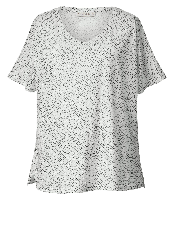 Janet und Joyce by Happy Size Shirt in Oversize-Form gepunktet