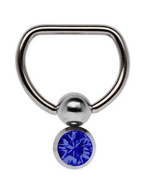 Adelia´s Brustwarzenpiercing »Brustpiercing«, Titan Brustpiercing D-Ring mit Doppel Klemmkugel und 6 mm Stein dunkelblau | Schmuck > Piercings | Adelia´s
