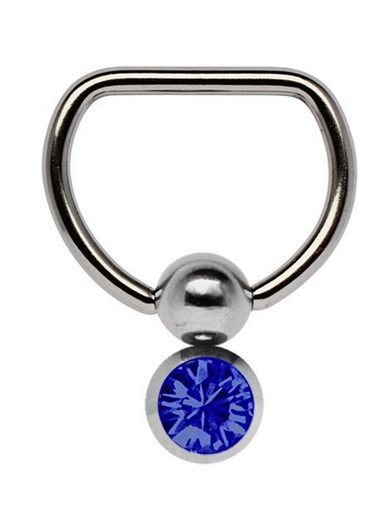 Adelia´s Brustwarzenpiercing »Brustpiercing« Titan Brustpiercing D-Ring mit Doppel Klemmkugel und 6 mm Stein dunkelblau