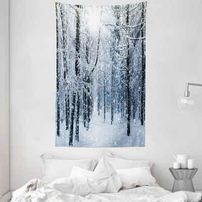 Wandteppich »aus Weiches Mikrofaser Stoff Für das Wohn und Schlafzimmer«, Abakuhaus, rechteckig, Winter Schnee bedeckter Wald