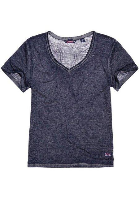 Superdry V-Shirt »BURNOUT VEE TEE« in Burnout-Optik | Bekleidung > Shirts > V-Shirts | Superdry