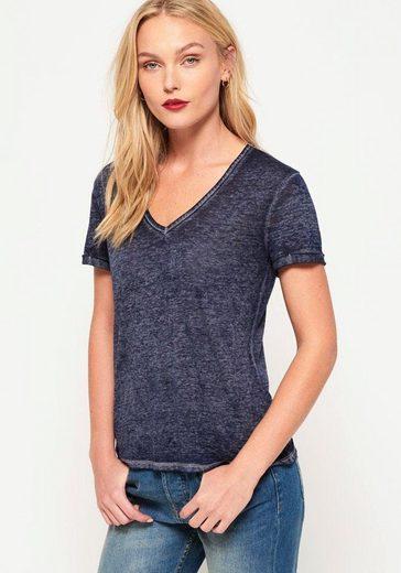 Superdry V-Shirt »BURNOUT VEE TEE« in Burnout-Optik
