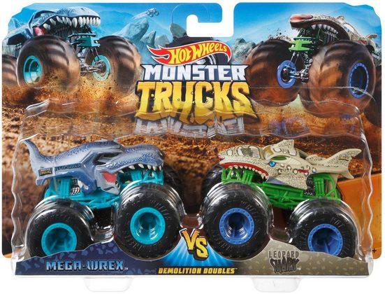 Hot Wheels Spielzeug-Monstertruck »Die-Cast Mega Wrex vs Leopard Shark«, (Set, 2-tlg)
