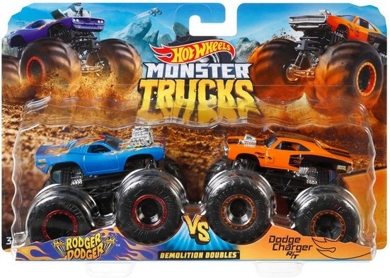 Hot Wheels Spielzeug-Monstertruck »Die-Cast Muscle Car vs Muscle Car«, (Set, 2-tlg)