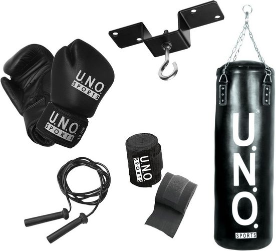 U.N.O. SPORTS Boxsack »Boxset Puncher Black Edition« (Set, 5-tlg., mit Bandagen, mit Boxhandschuhen, mit Sprungseil)
