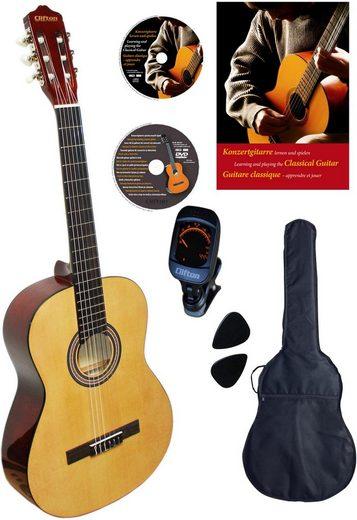 Clifton Konzertgitarre »Konzertgitarren Set, Natur« 4/4, Komplettset