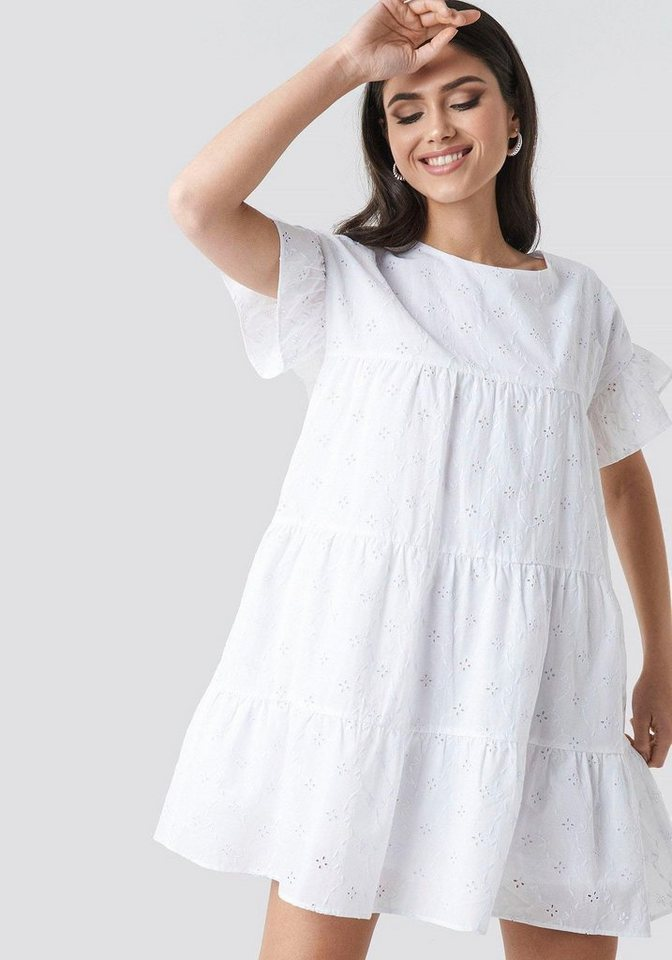Rabatt bis zu 60% Brandneu feinste Stoffe NA-KD A-Linien-Kleid Sommerkleid mit Lochstickerei & leicht ausgestellten  Ärmeln online kaufen | OTTO