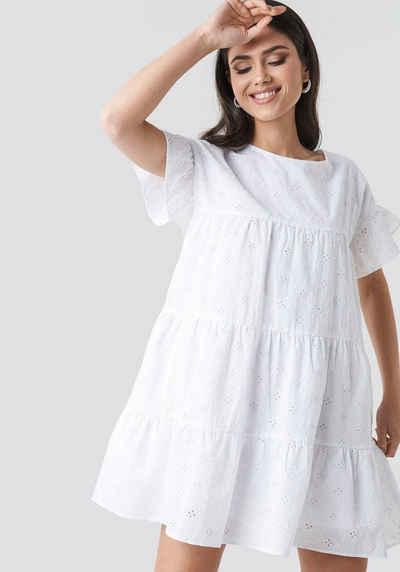 9ef0651c7fb NA-KD A-Linien-Kleid Sommerkleid mit Lochstickerei   leicht ausgestellten  Ärmeln